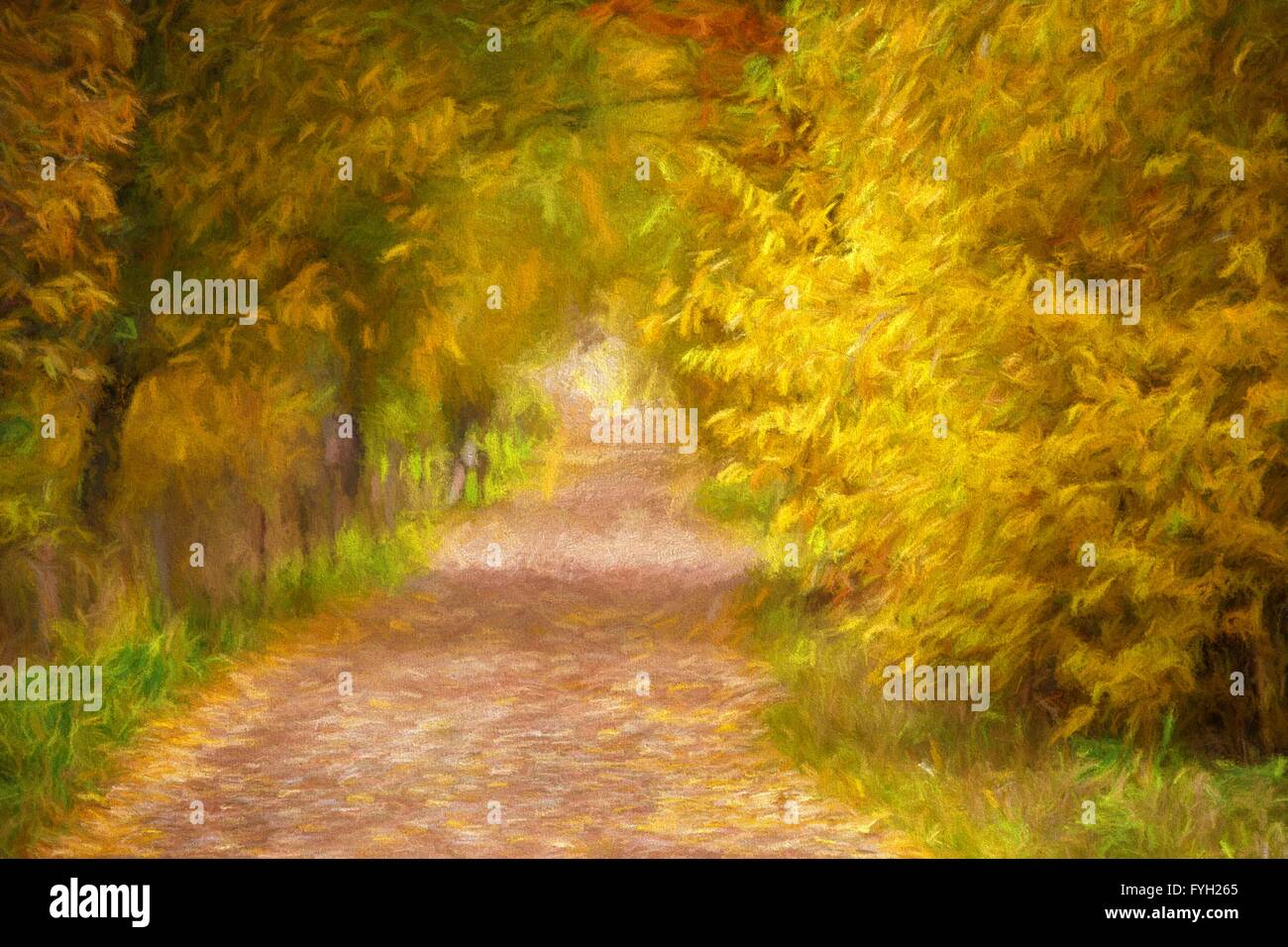 Oil Painting Autumn Landscape Path Lined With Trees With