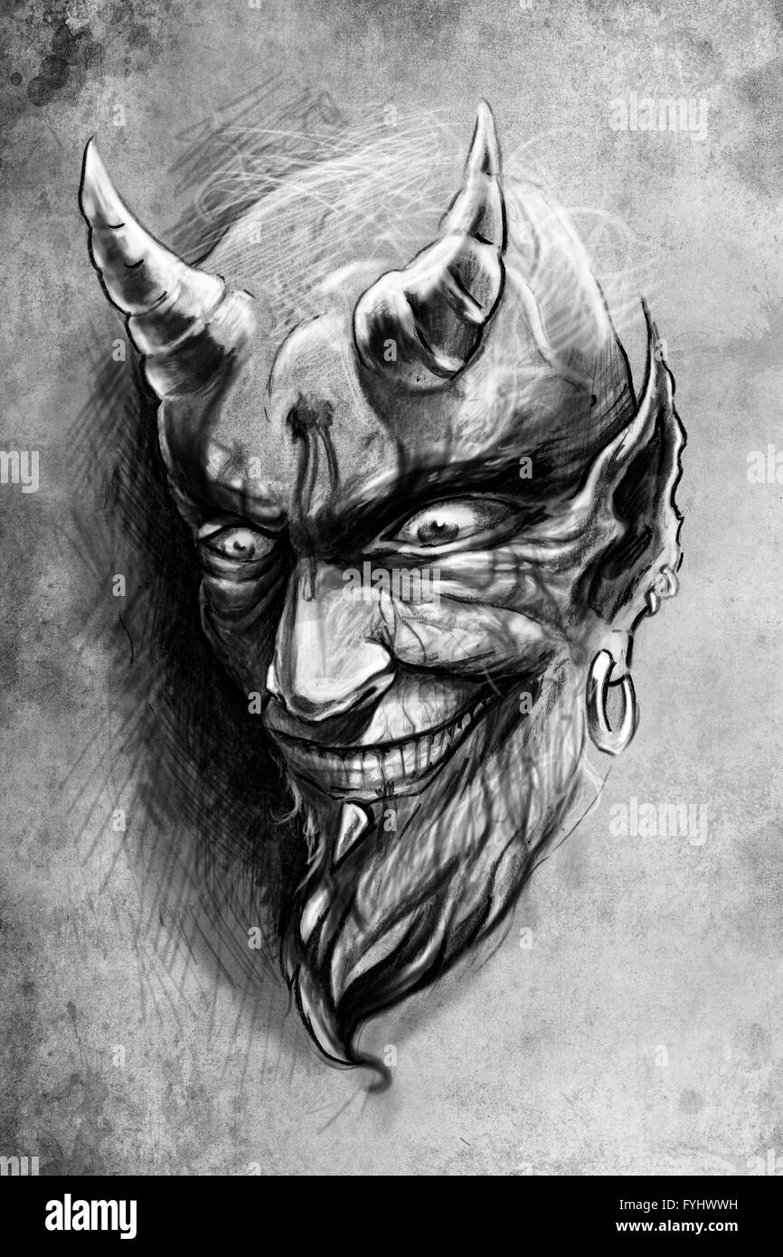 tattoo devil, illustration, handmade draw over vintage ...