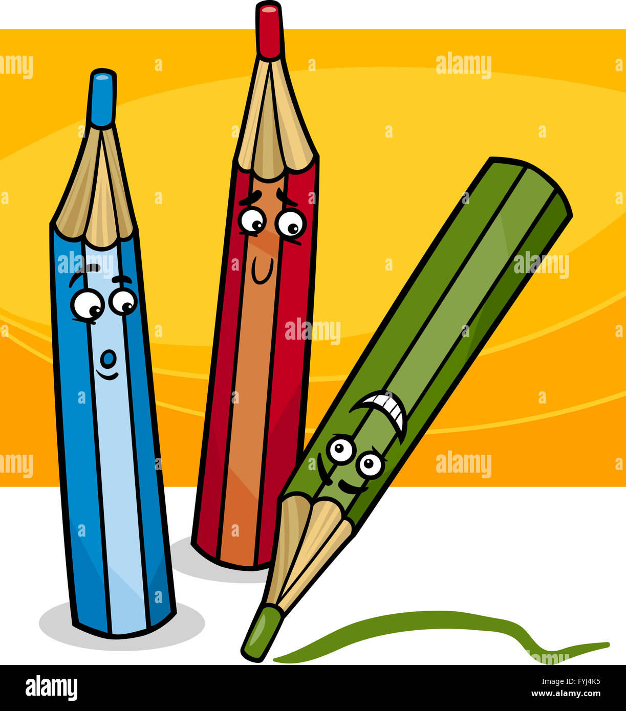 funny crayons cartoon illustration - Cartoon Pictures Of Crayons