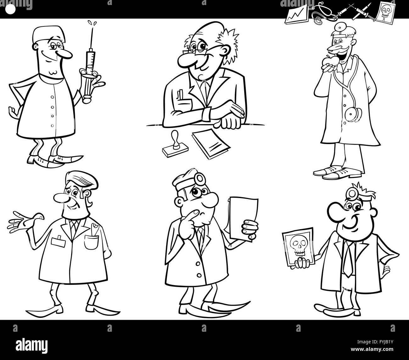medical staff set coloring book Stock Photo: 103051367 - Alamy