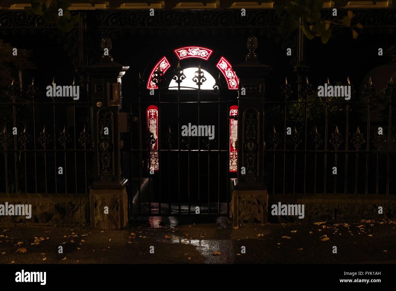 Victorian night lamps - Australia Victorian Front Door At Night Light From Inside Stock Photo