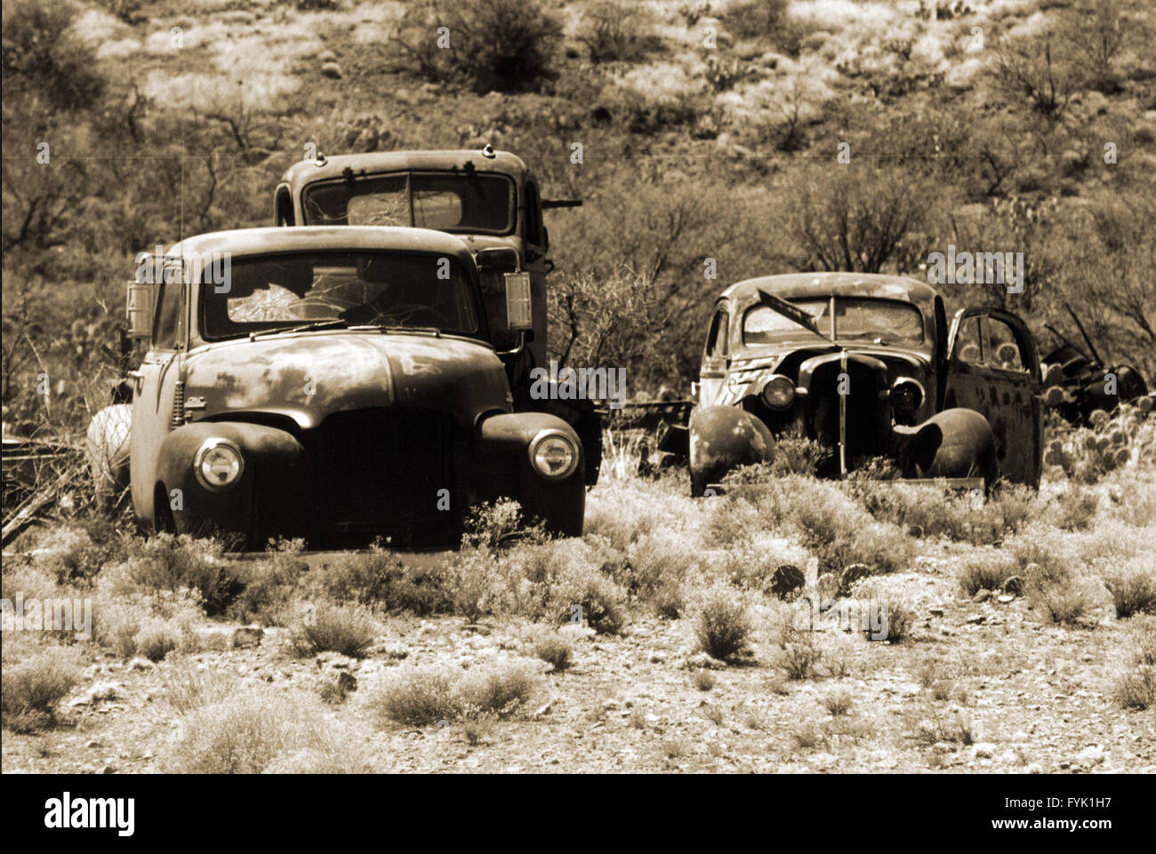 Rotting 1950\'s classic cars & trucks litter the landscape at rural ...