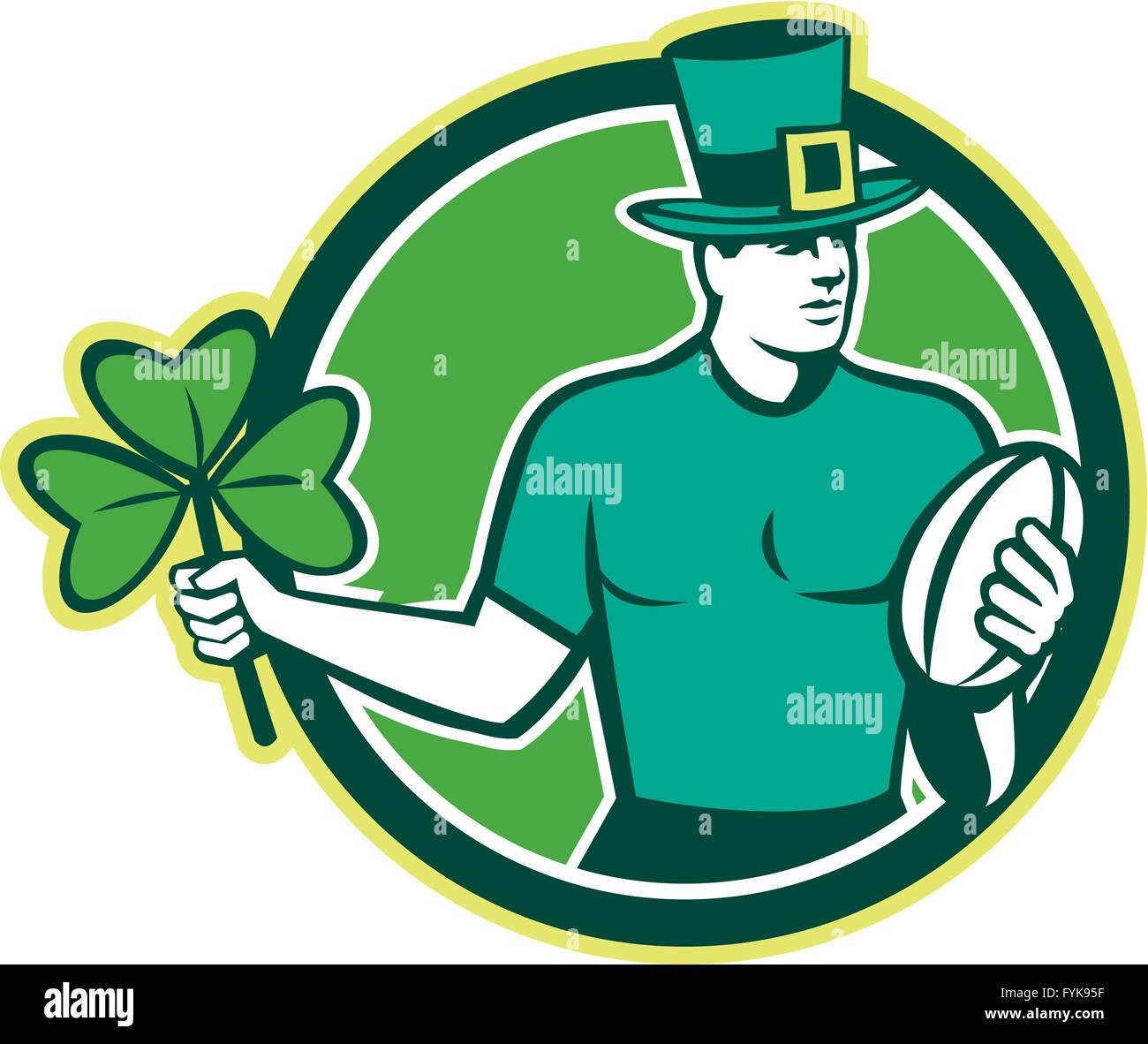 Irish Rugby Player Holding Shamrock Stock Photo Royalty Free Image