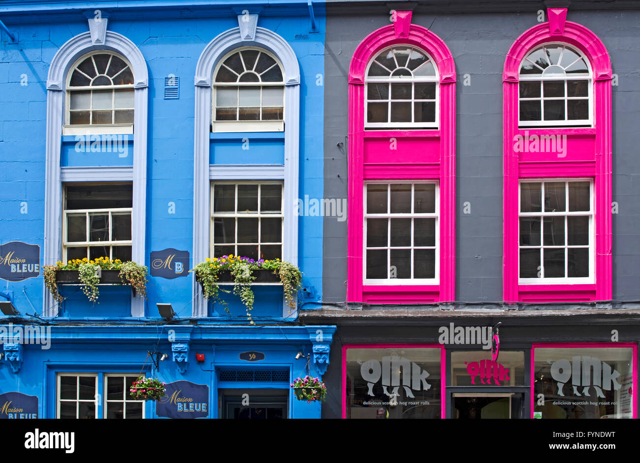 close up of brightly painted facades of two store fronts on victoria stock photo 103119460 alamy. Black Bedroom Furniture Sets. Home Design Ideas