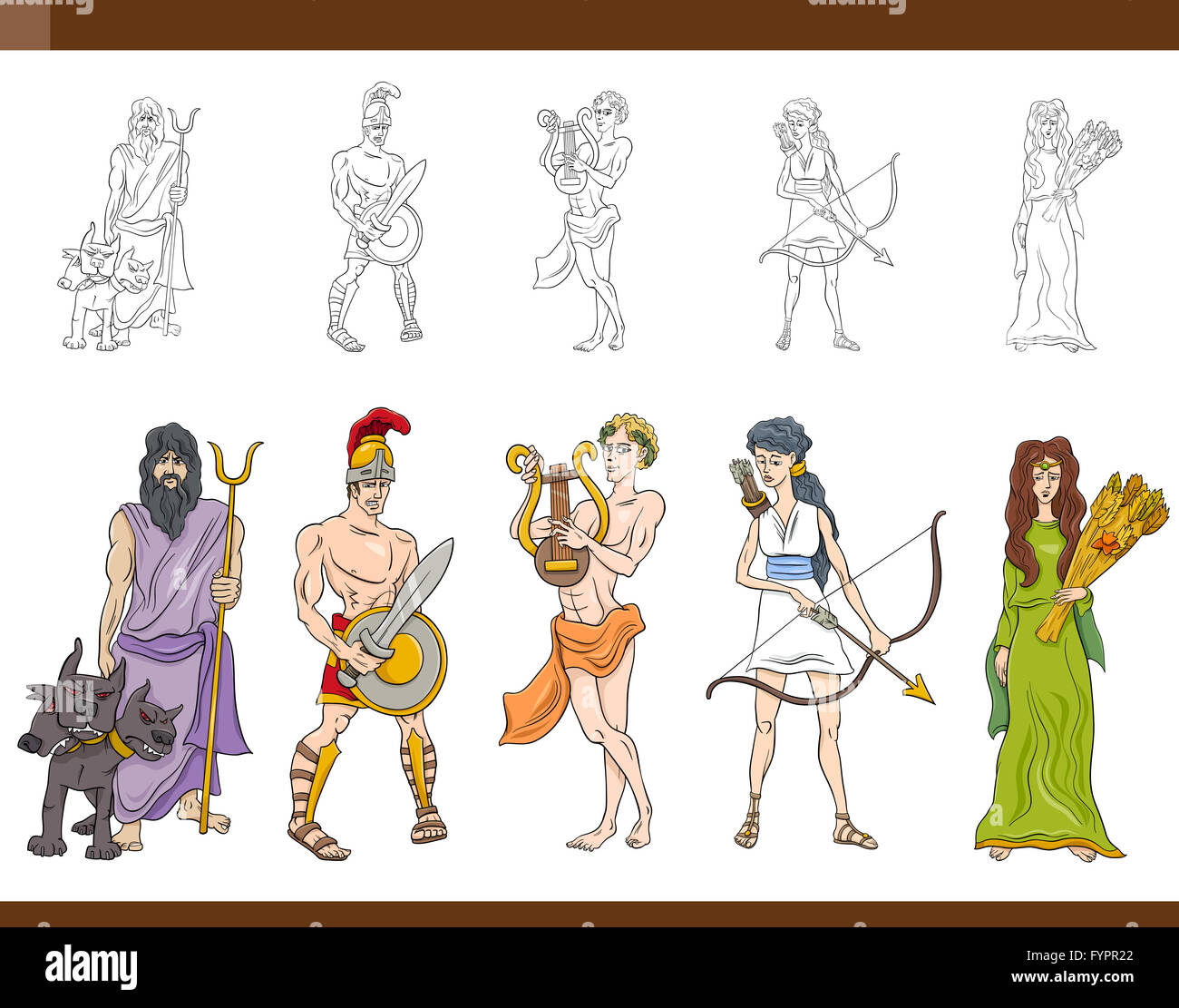 Greek Gods Set Illustration Stock Photo Royalty Free