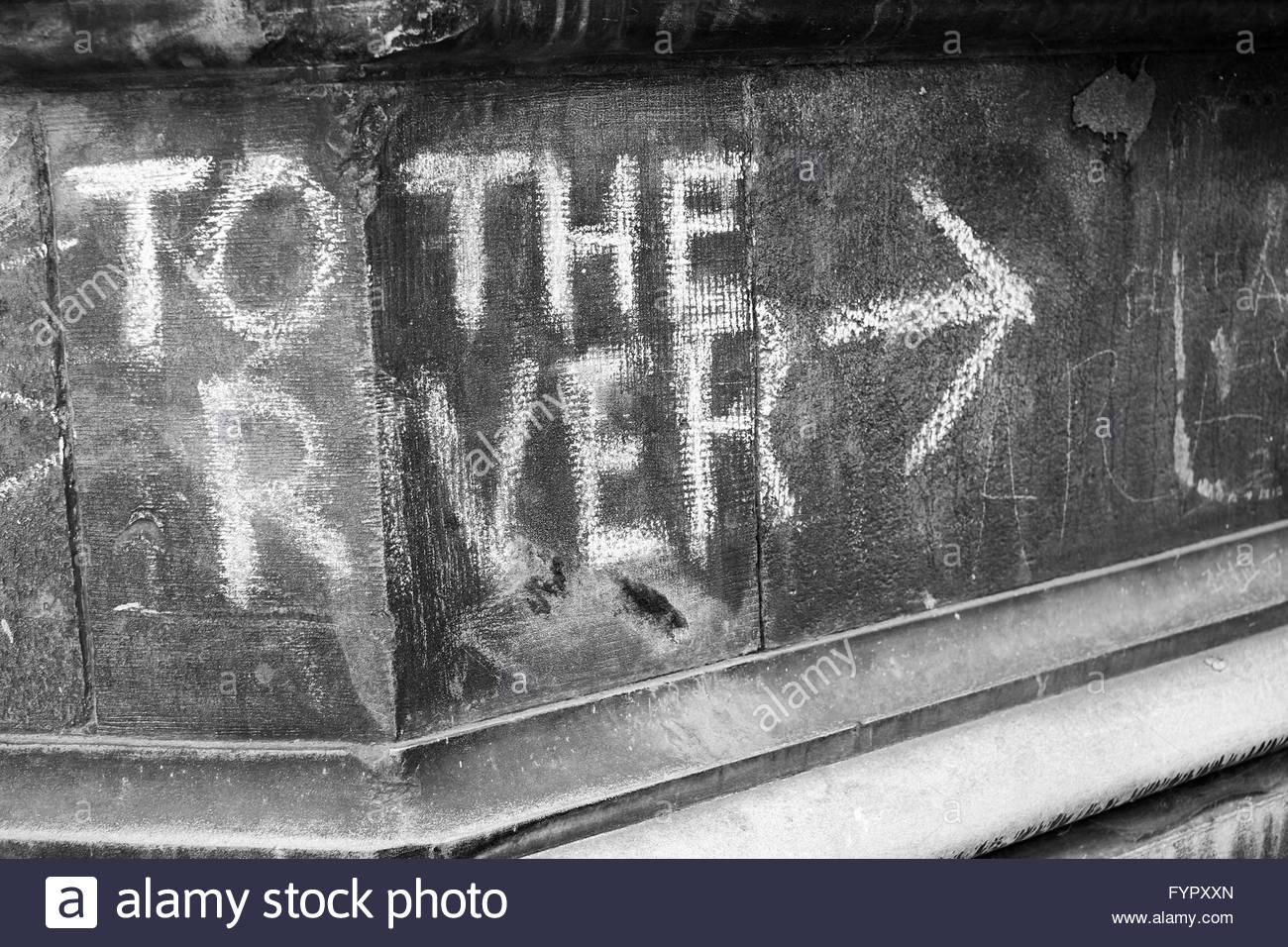 Graffiti wall cambridge - Graffiti On The Walls Of An Historical Cambridge City Building Directing Tourists To The River Cam Cambridge United Kingdom