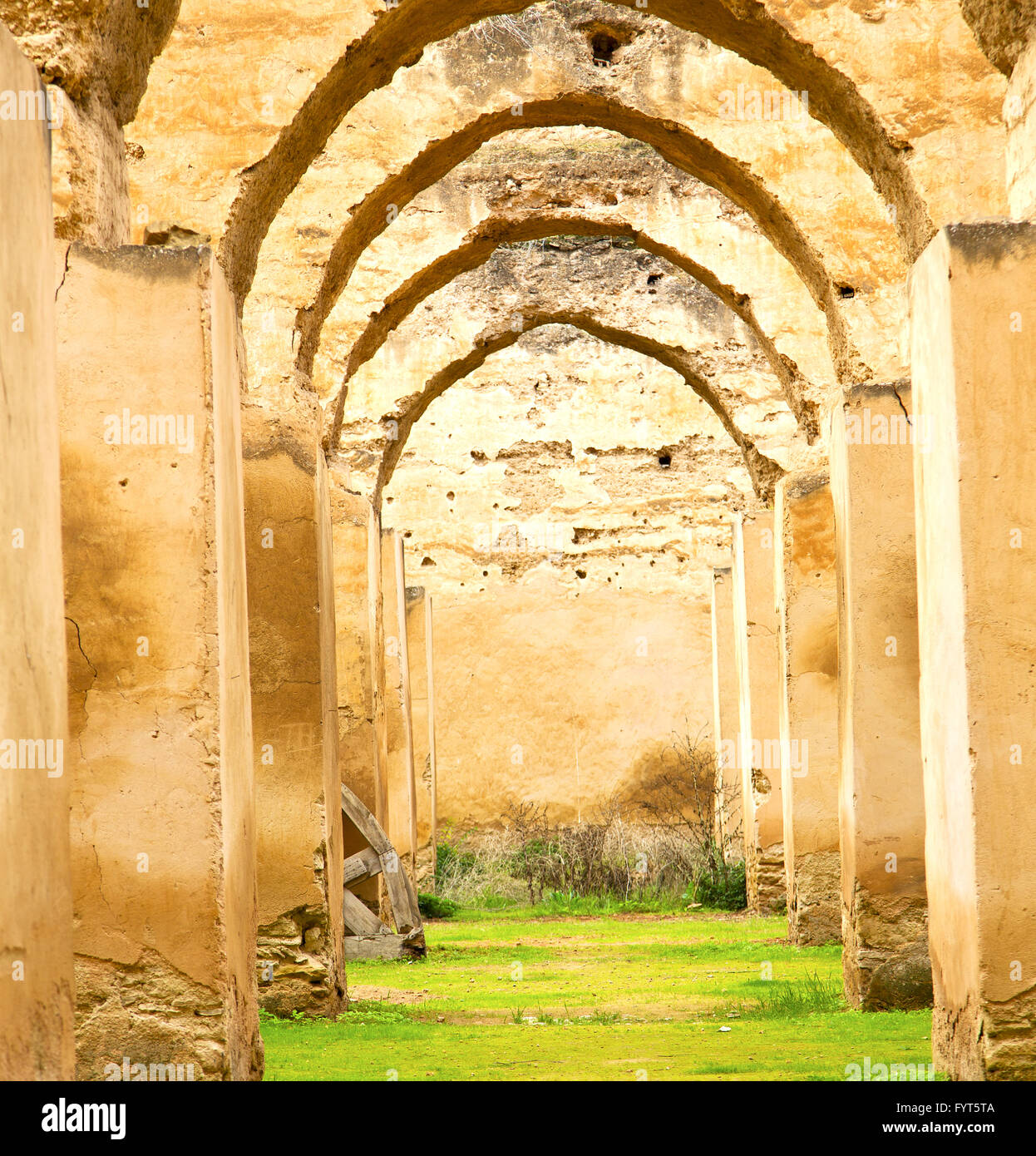 old moroccan granary in the green grass and archway wall Stock ... for Moroccan Archway  66pct