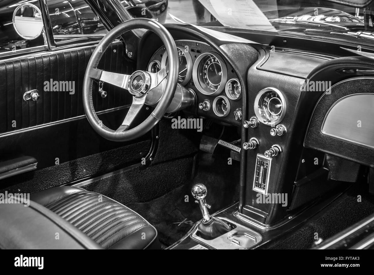 Cabin of sports car Chevrolet Corvette Roadster Black Old-School ...