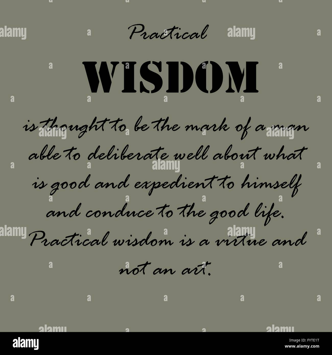 Wisdom Quotes Aristotle Quotespractical Wisdom Is Thought Stock Vector Art