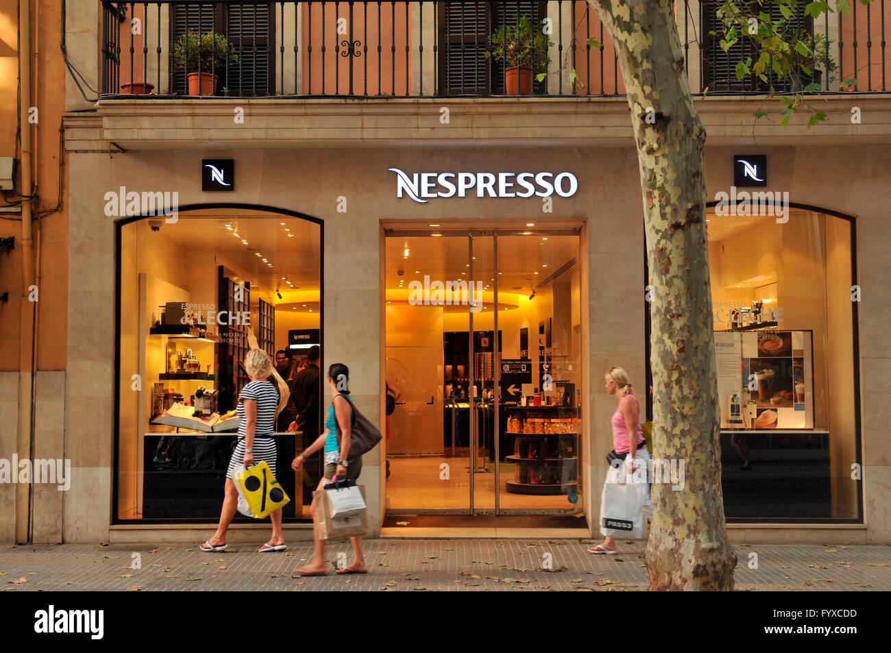 Nespresso shop, old part of town, Palma de Mallorca ...