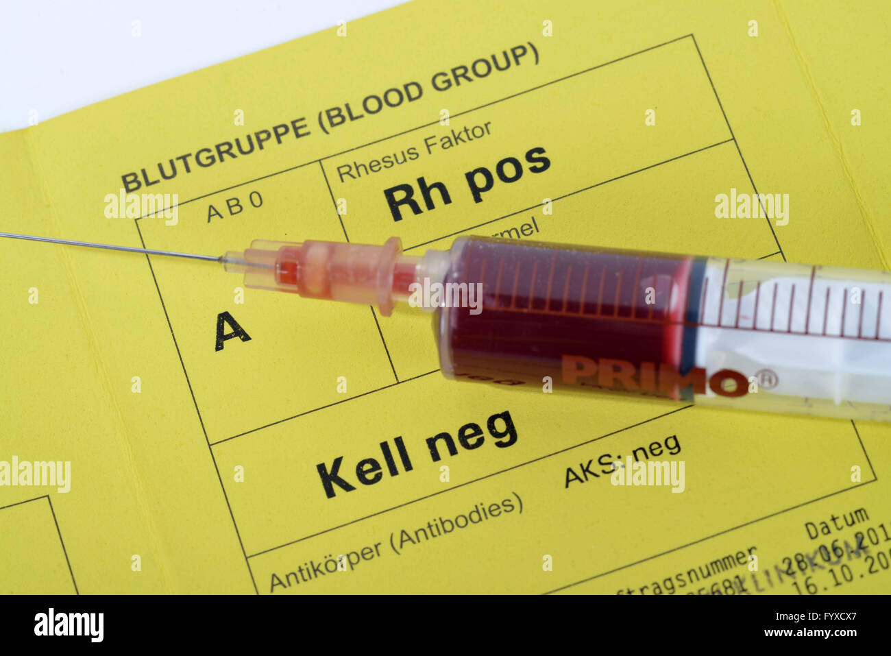 Blood group card stock photos blood group card stock images alamy blood group badge blood type card taking blood sample blood test a xflitez Images