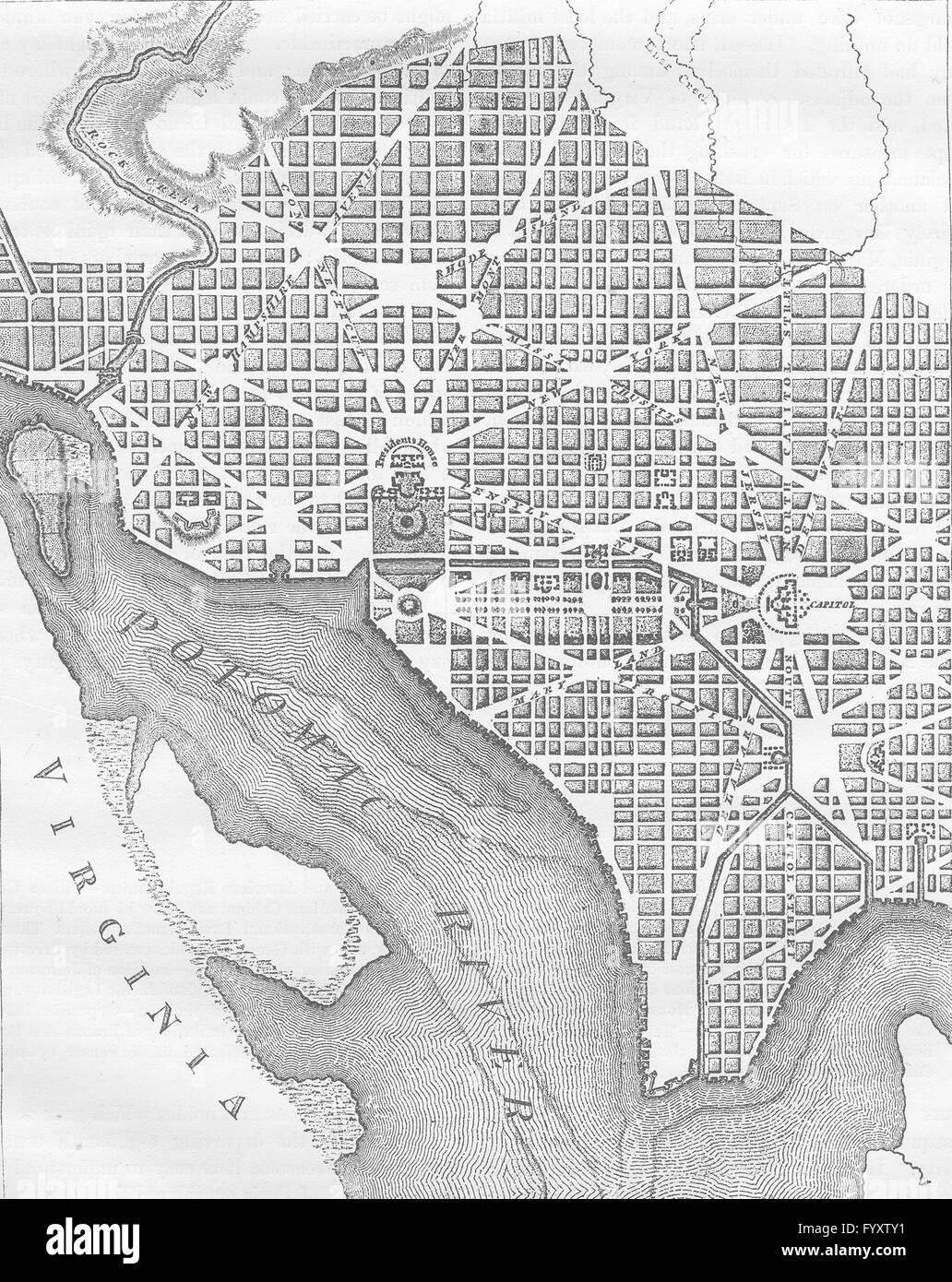 WASHINGTON DC City Plan original layout 1793 c1880 antique map