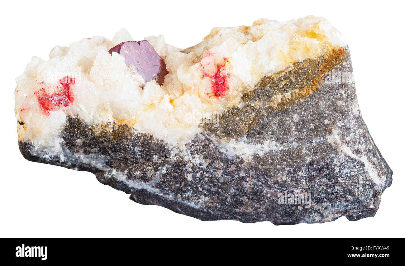 Is quartz considered a natural stone - Stock Photo Macro Shooting Of Natural Mineral Stone Red Crystal Of Cinnabar Cinnabarite Gemstone In Quartz Carbonate Vein Isolated On Wh