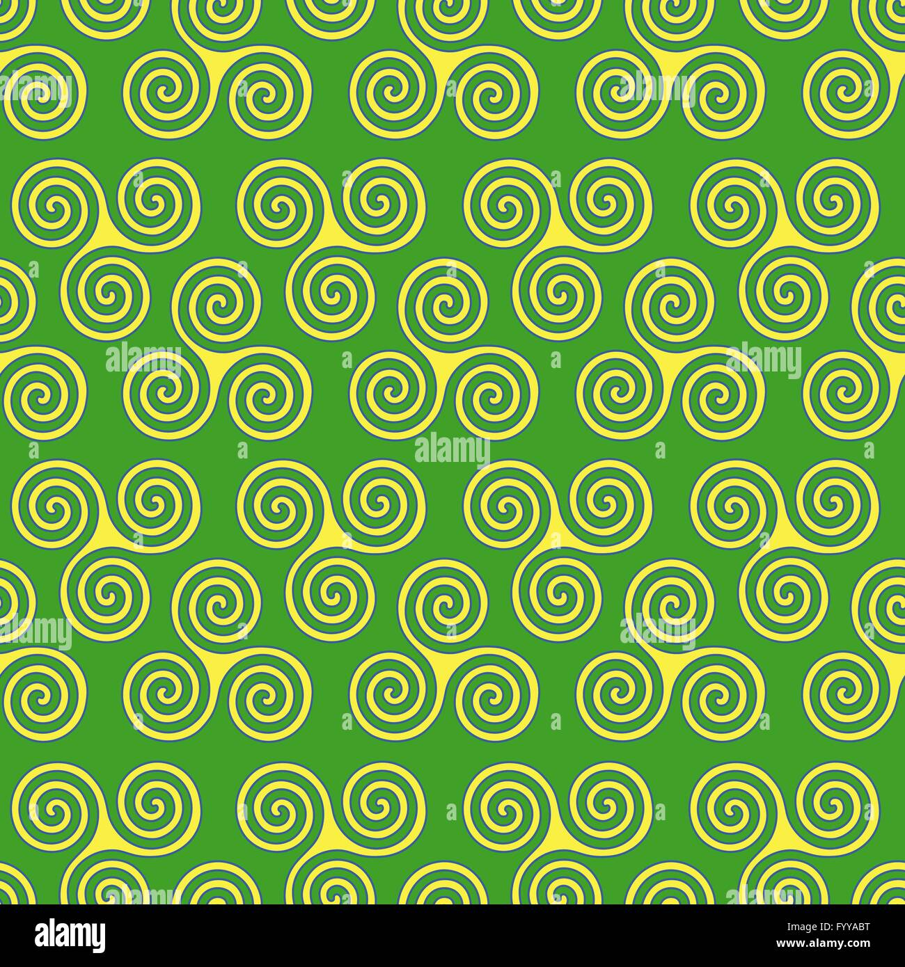 Seamless vector pattern with swirling triple spiral or triskele a seamless vector pattern with swirling triple spiral or triskele a complex ancient celtic symbol shapes in yellow and blue on t buycottarizona Images