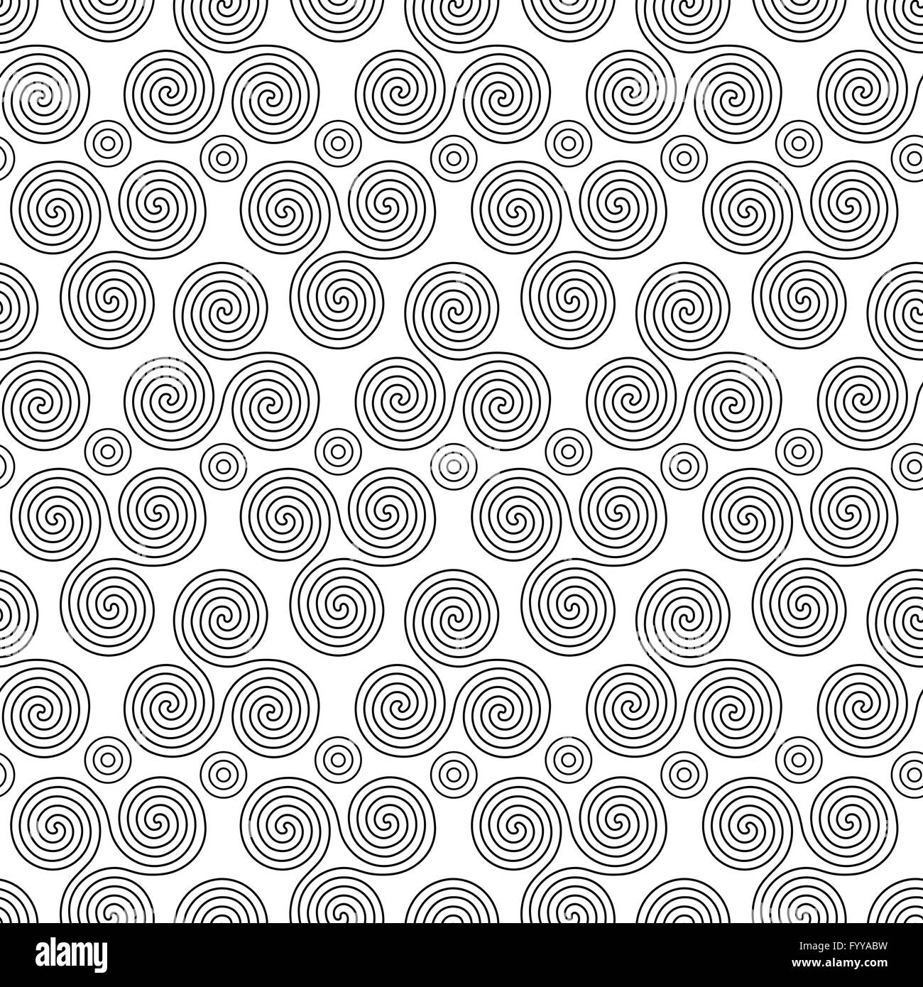 Seamless vector pattern with circles and swirling triple spiral or seamless vector pattern with circles and swirling triple spiral or triskele a complex ancient celtic symbol black shapes on th buycottarizona Images