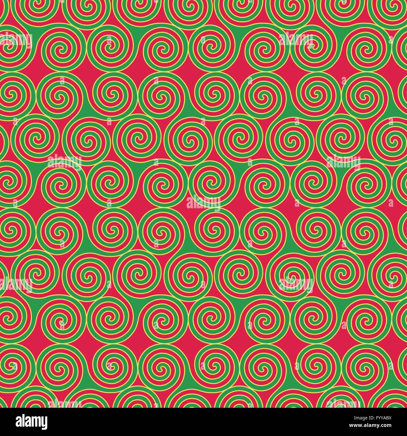 Seamless vector pattern with swirling triple spiral or triskele a seamless vector pattern with swirling triple spiral or triskele a complex ancient celtic symbol shapes in green and yellow on buycottarizona Images