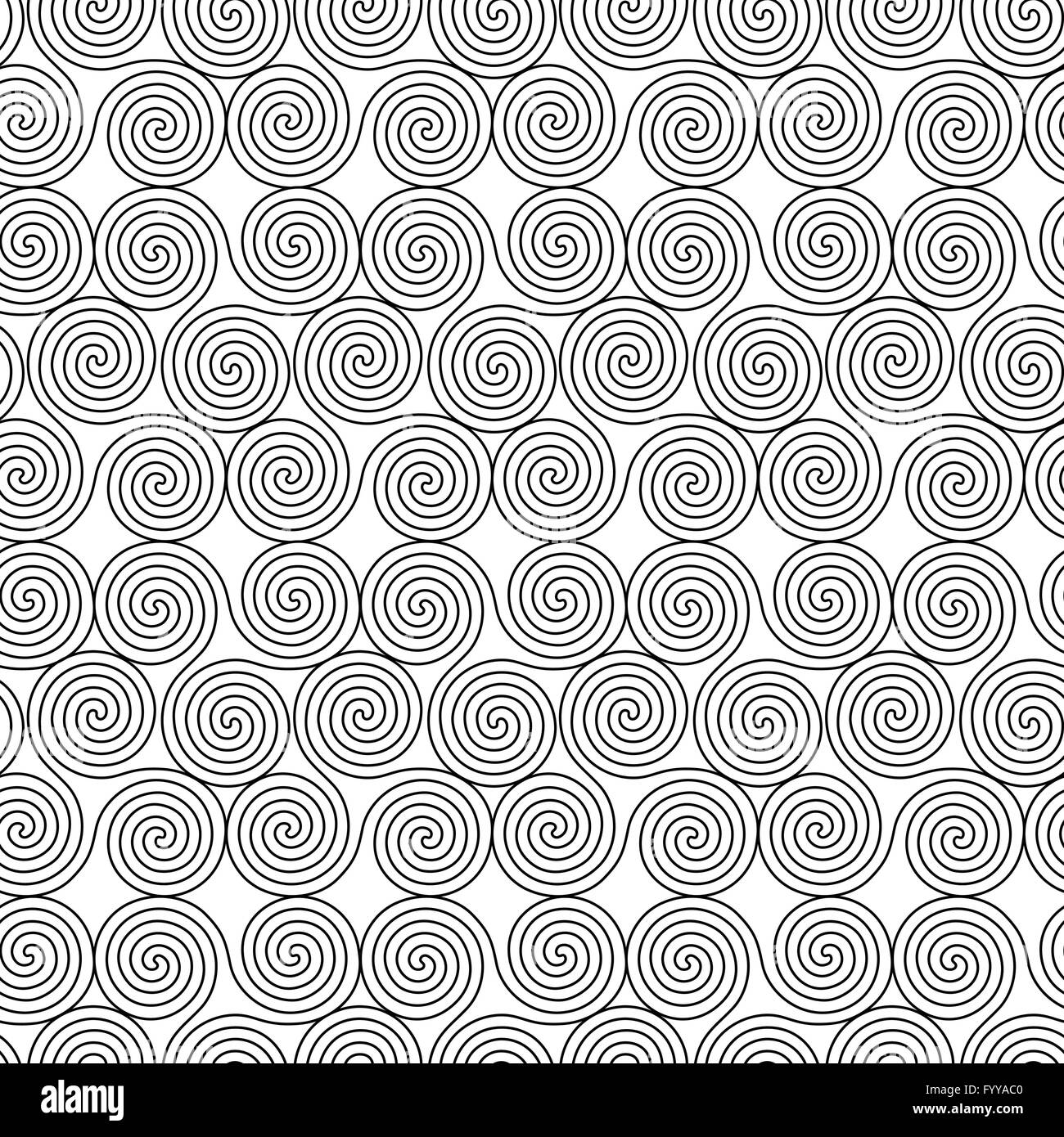 Monochrome seamless vector pattern with swirling triple spiral or monochrome seamless vector pattern with swirling triple spiral or triskele a complex ancient celtic symbol black shapes on the buycottarizona Images