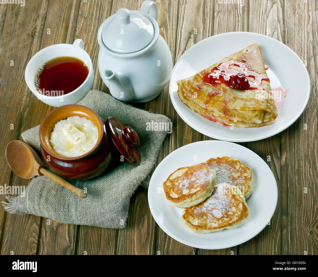 The traditional Russian breakfast - millet porridge ...