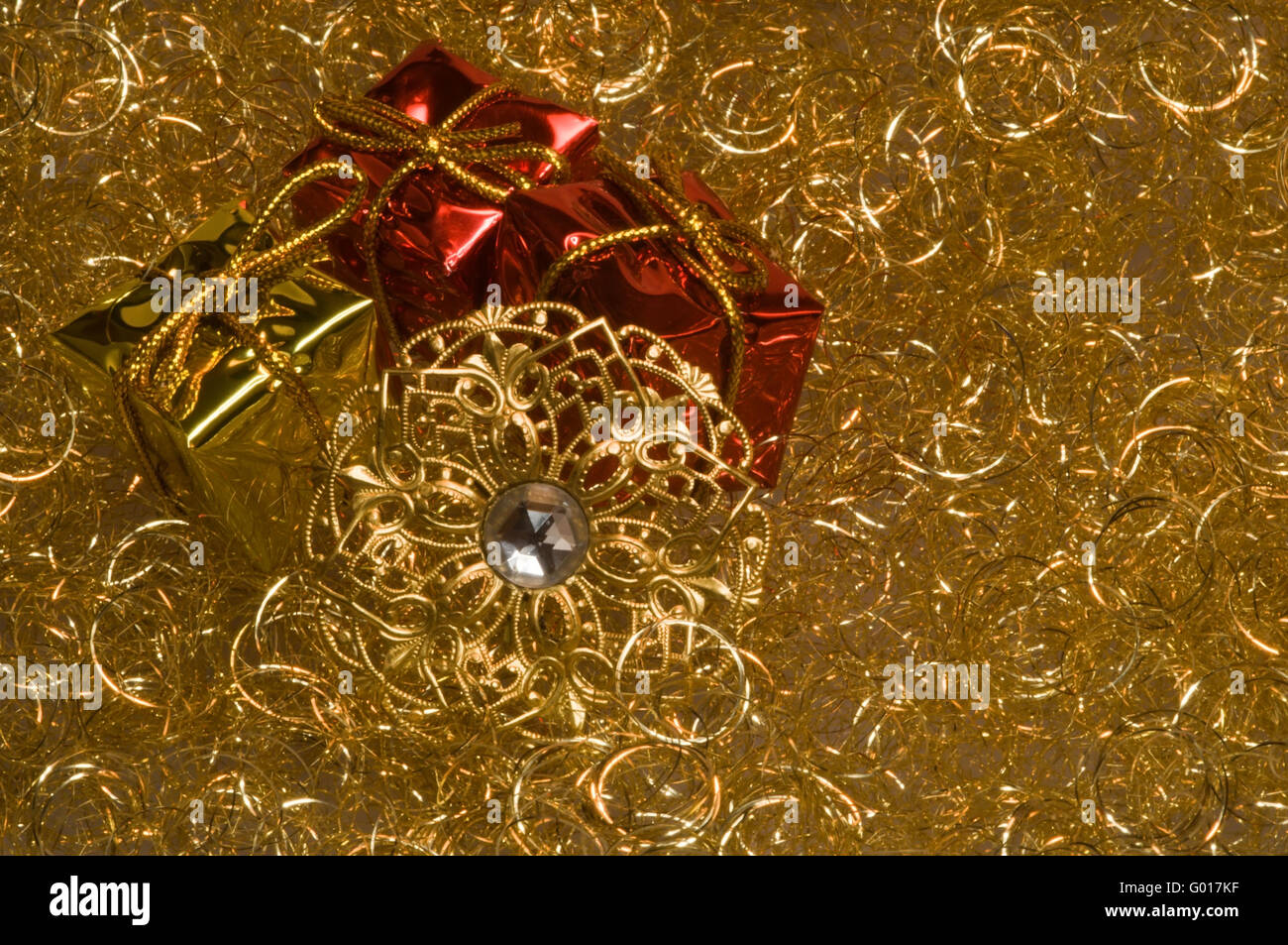 Christmas decoration on a gold angel hair Stock Photo, Royalty ...