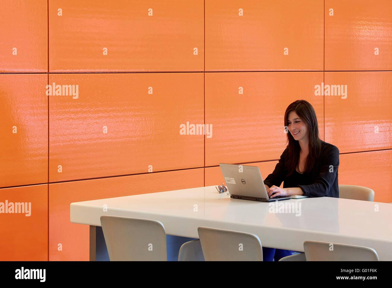 Work desk and iconic orange colored ceramic tiles central saint work desk and iconic orange colored ceramic tiles central saint giles london united kingdom architect renzo piano building dailygadgetfo Images