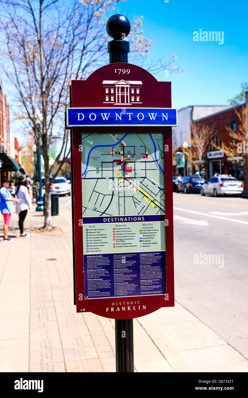 Tourist Information Map On The Sidewalk In Downtown Franklin – Tourist Map Of Nashville