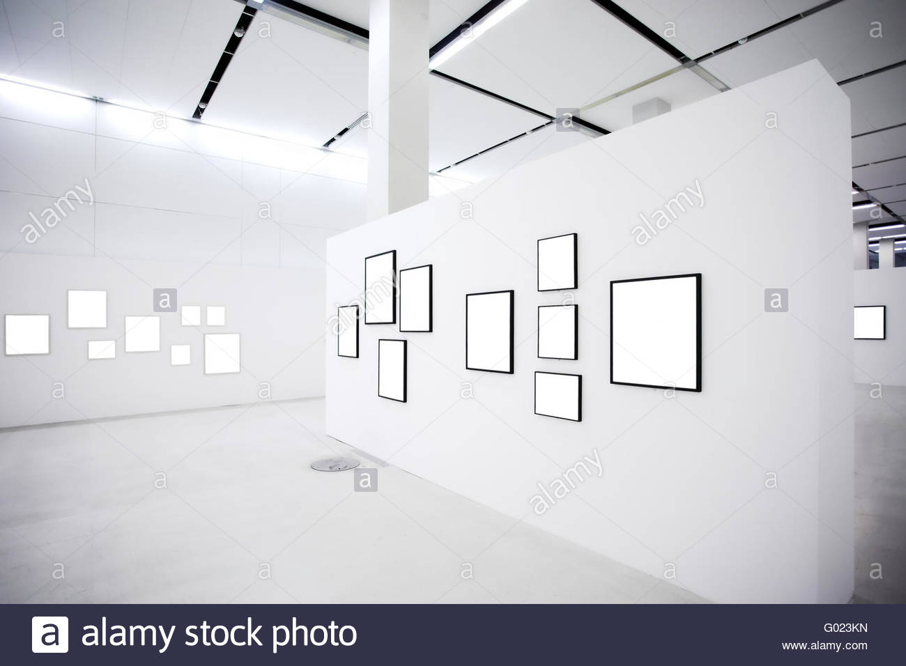 Exhibition in museum with many empty frames on white walls stock exhibition in museum with many empty frames on white walls sciox Images