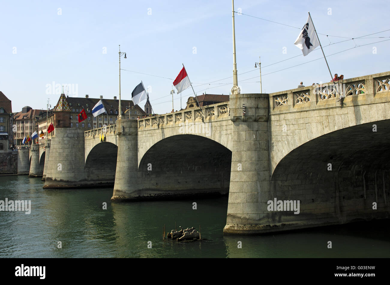 Flags Of The Swiss Cantons At A Rhine River Bridge Stock Photo - Swiss river to the rhine