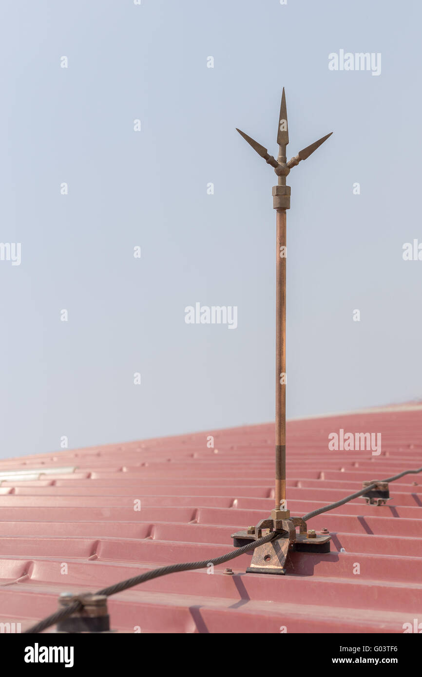 Stock Photo   Lightning Rod Copper Over The Roof, Safety Equipment