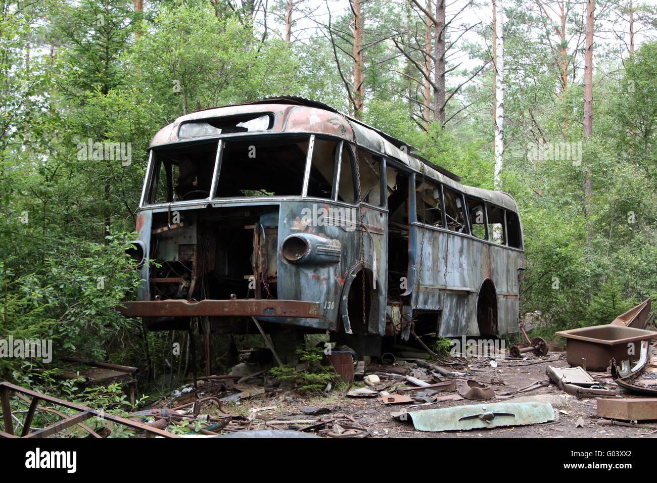bus wreck - scap motorcar vehicle - junkyard Stock Photo, Royalty ...