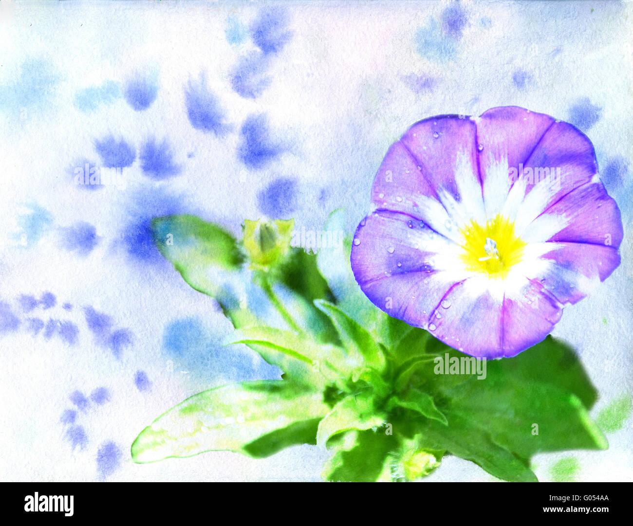 watercolor a dark blue flower on a blue background stock photo royalty free image 103375394. Black Bedroom Furniture Sets. Home Design Ideas