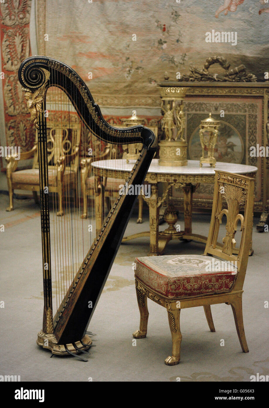 the drawing room of the winter palace furniture and harp