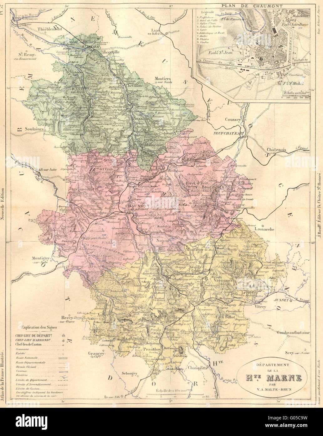 Haute marne departement de hte plan chaumont 1882 for Chaumont haute marne