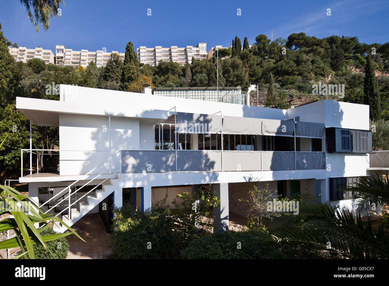 exterior of modernist building eileen gray 39 s house e 1027 stock photo royalty free image. Black Bedroom Furniture Sets. Home Design Ideas