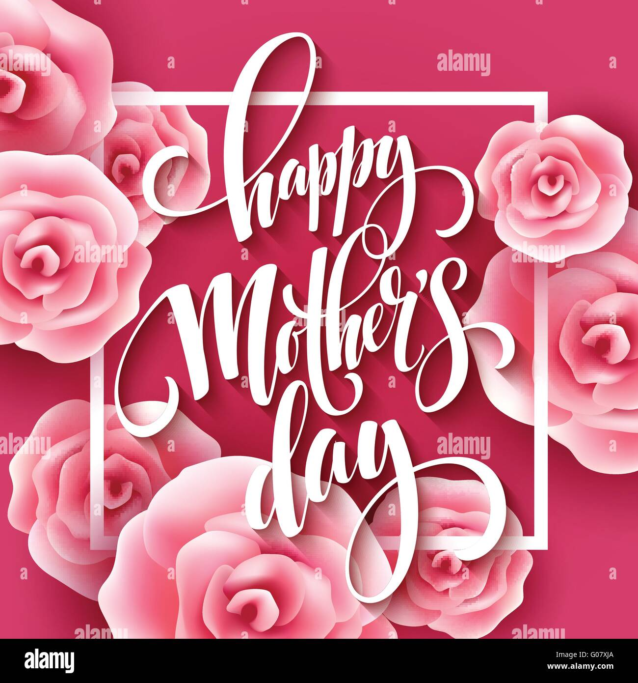 Happy mothers day lettering mothers day greeting card with happy mothers day lettering mothers day greeting card with blooming pink rose flowers vector illustration kristyandbryce Image collections