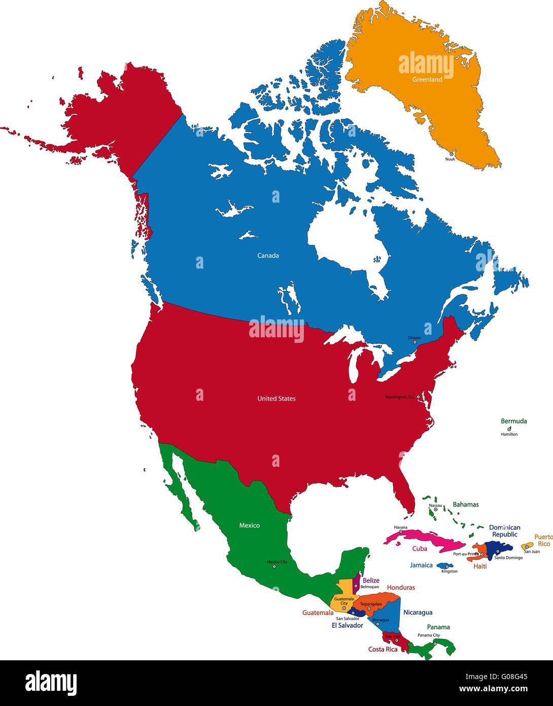 North America Map Stock Photo Royalty Free Image Alamy - North america map el salvador