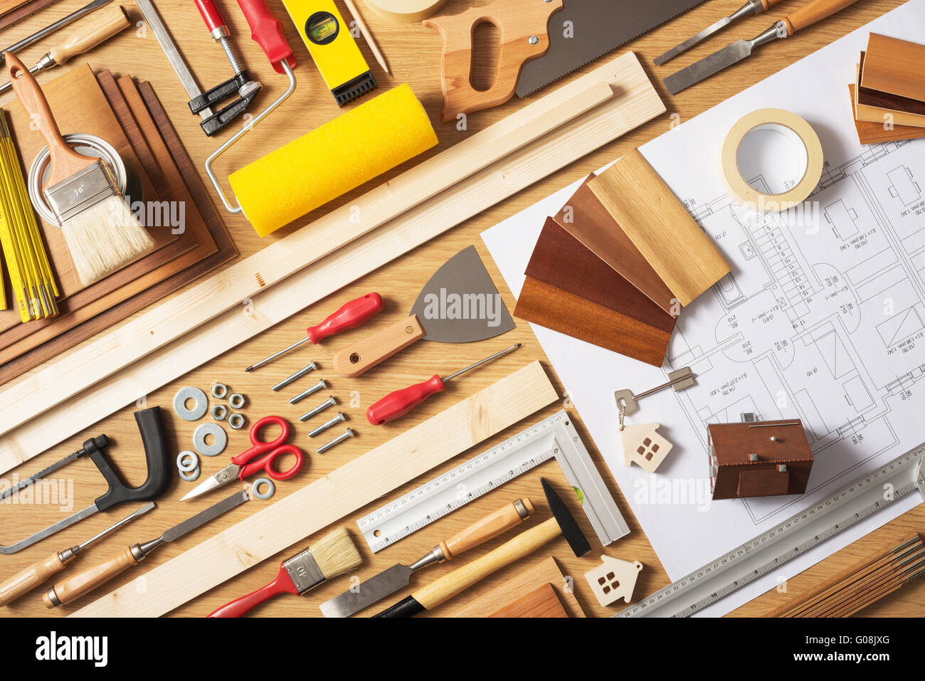 Do it yourself home improvement and renovation concept  work table top view  with work tools. Do It Yourself Home Improvement And Renovation Concept  Work Table