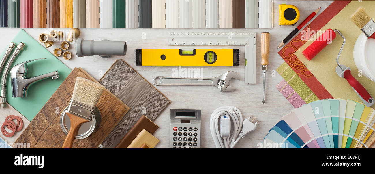 Do it yourself home renovation and construction concept with diy do it yourself home renovation and construction concept with diy tools hardware and swatches on wooden table top view solutioingenieria Image collections