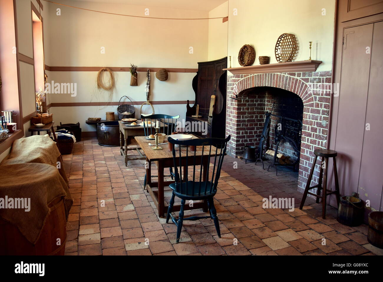 New Bern North Carolina The Servants Dining Room With Table Chairs Implements And Fireplace In Tryon Palace Kitchen