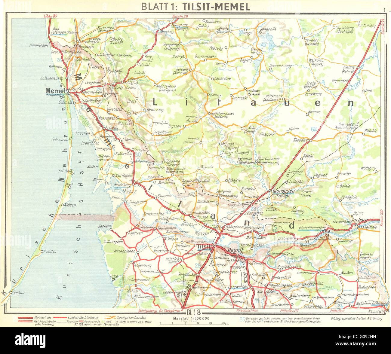 LITHUANIA TilsitKlaipeda Vintage Map Stock Photo Royalty - Klaipėda map