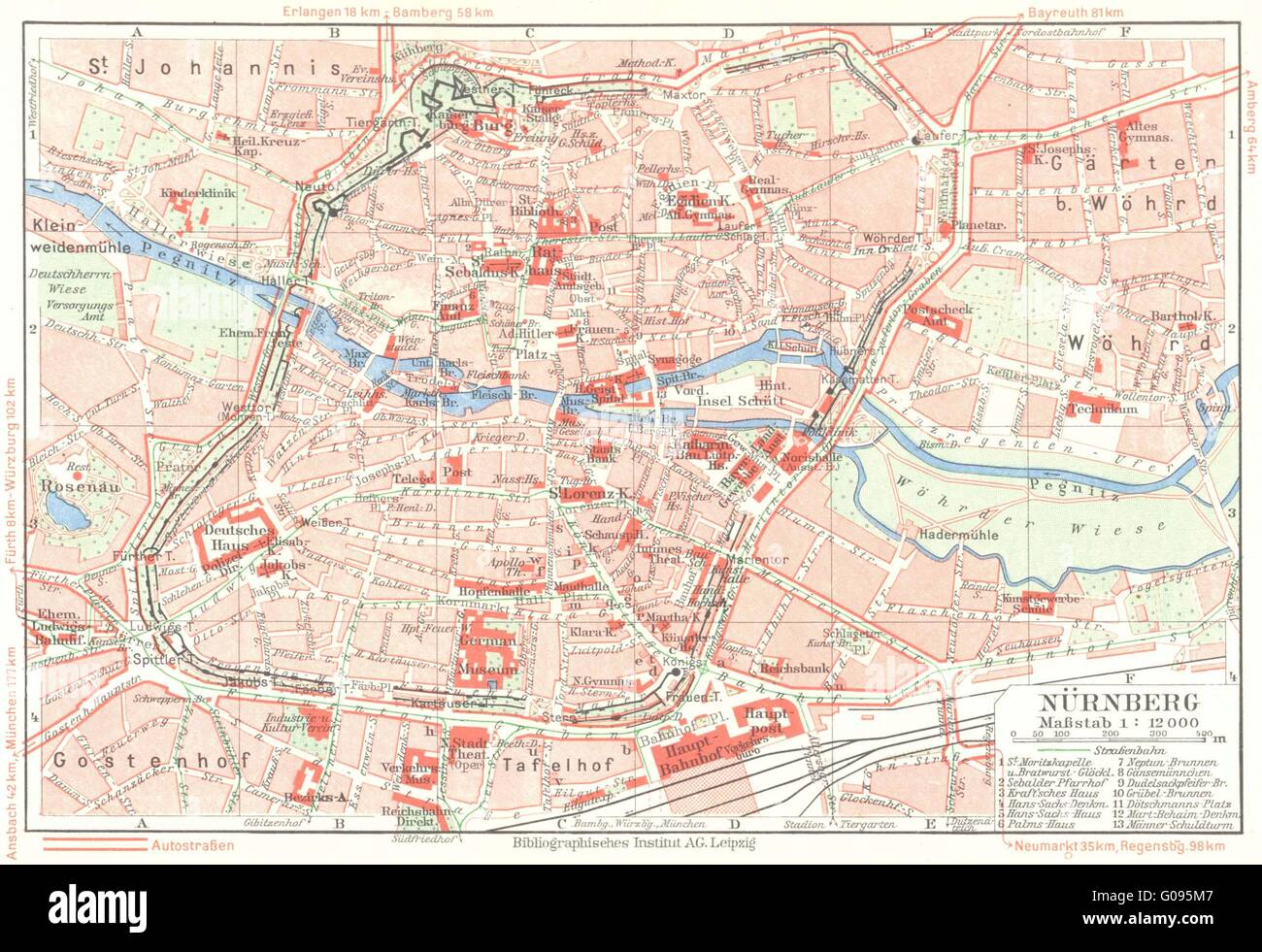 GERMANY NuremburgNurnberg Vintage Map Stock Photo - Germany map nurnberg