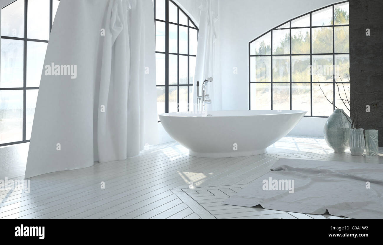 Luxury white bathroom interior with a contemporary freestanding