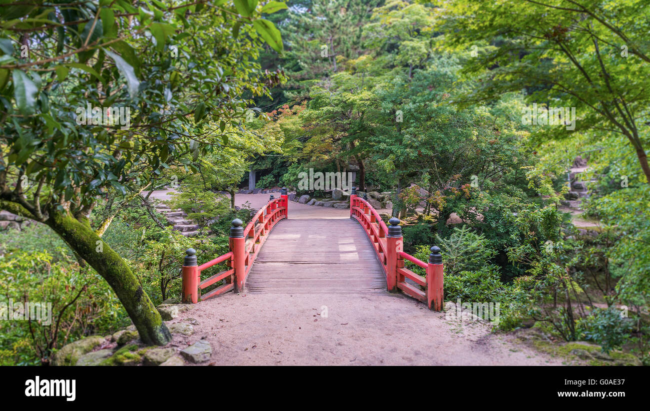 Traditional japanese style bridge at the entrance to for Japanese style bridge
