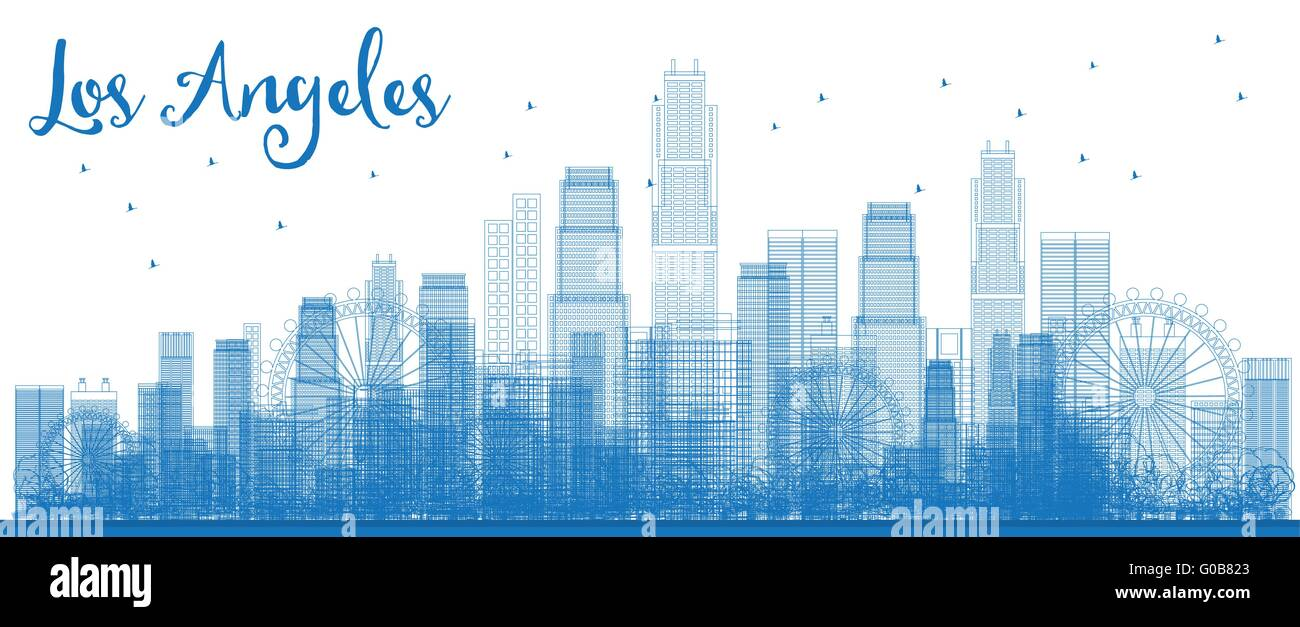 outline los angeles skyline with blue buildings vector illustration business travel and tourism concept