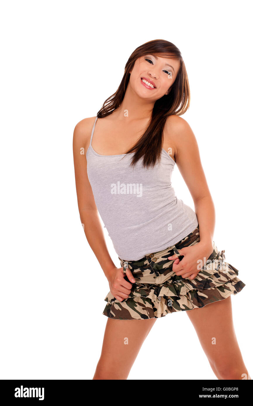 Young Smiling Teen Girl Short Skirt Shirt Stock Photo, Royalty ...