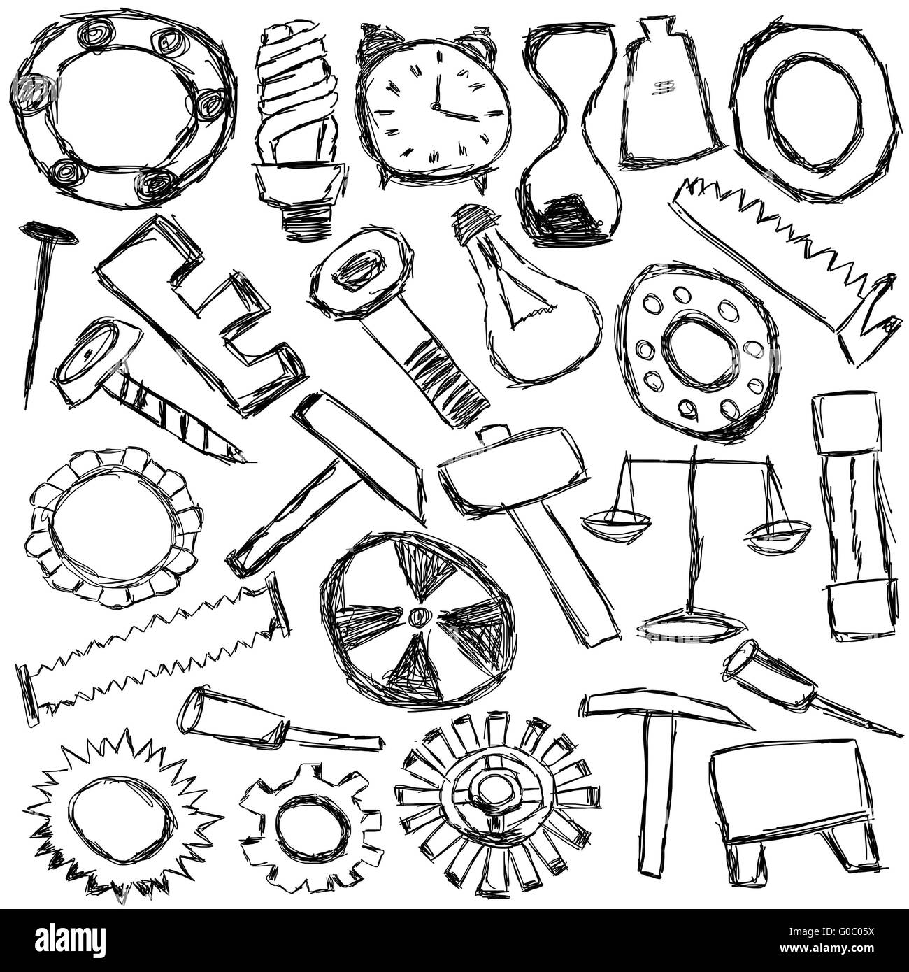Uncategorized Kids Drawing Tools set of mechanical spare parts and tools kids drawing stock photo drawing