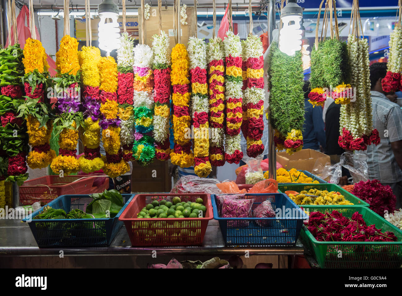 market stall in little india selling flower garlands used for worship stock photo royalty free. Black Bedroom Furniture Sets. Home Design Ideas