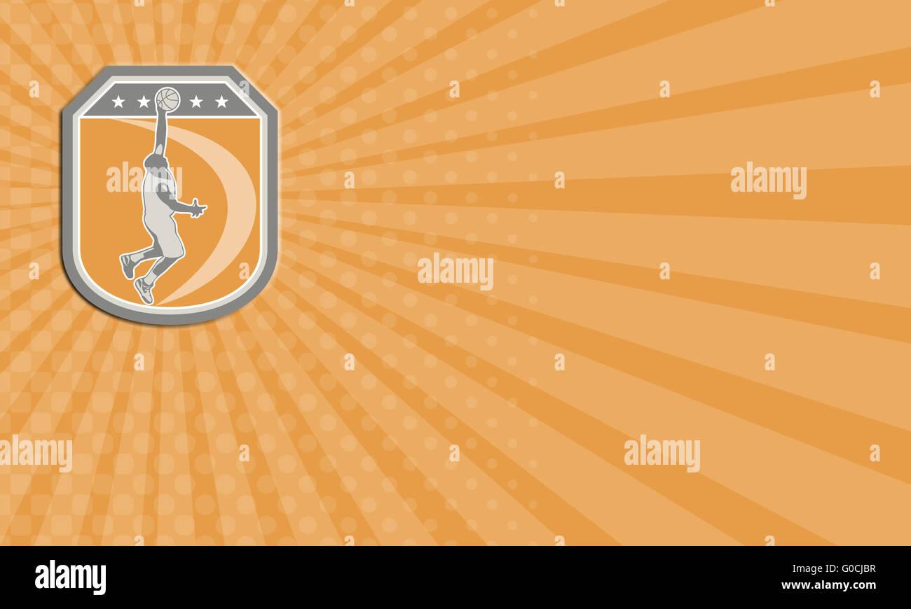 Business card Basketball Player Rebounding Ball Shield Retro Stock ...