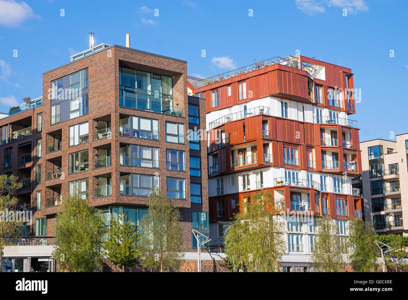 Apartment Houses New Apartment Houses In The Hafencity In Hamburg Stock Photo