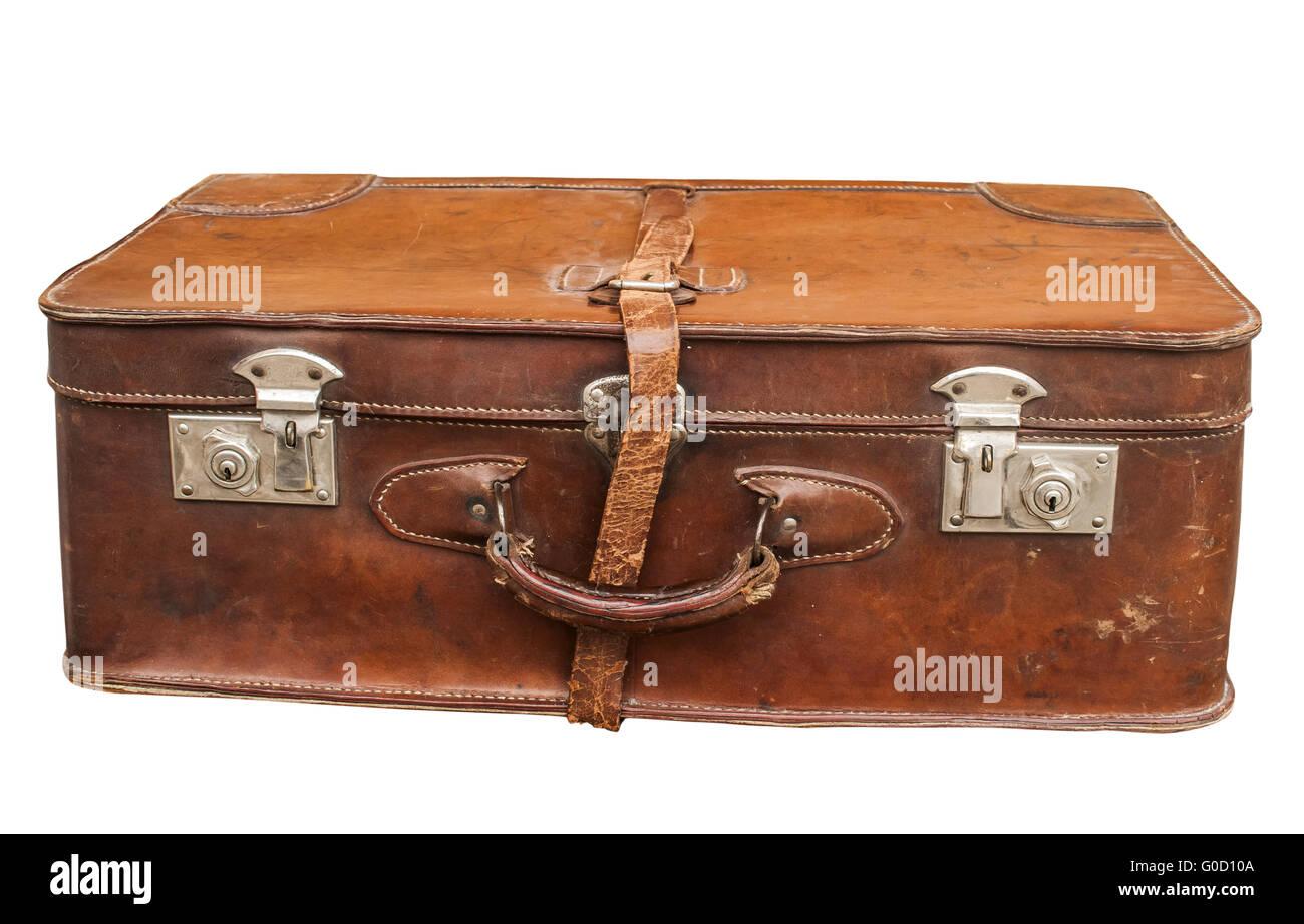 Old Closet Locked Retro Vintage Leather Suitcase