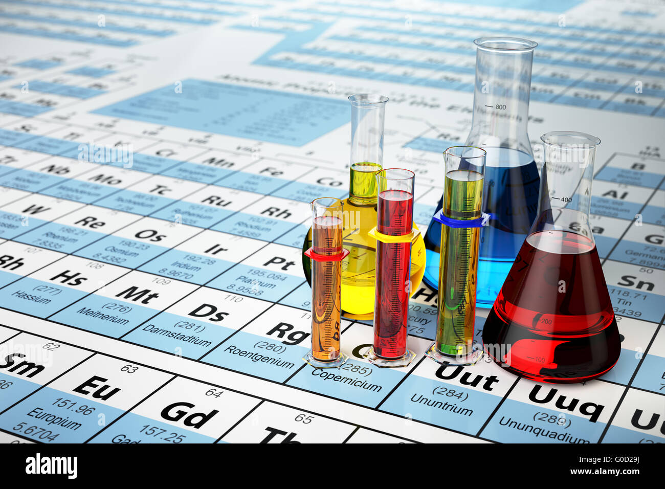 Science chemistry concept laboratory test tubes and flasks with laboratory test tubes and flasks with colored liquids on the periodic table of elements 3d illustra gamestrikefo Image collections